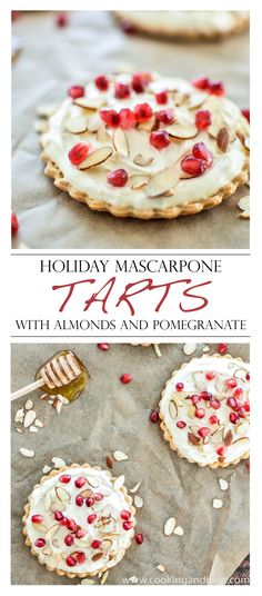 Holiday Mascarpone Tarts with Almonds and Pomegranate | www.cookingandbeer.com | @jalanesulia