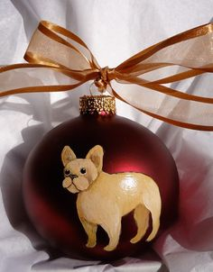 French Bulldog Hand Painted Christmas Ornament  by paintedpooches, $17.95