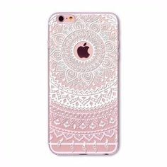 White and Pink Lace Mandala Boho Case for iPhone 5 5s SE 6 6s