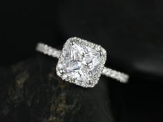 thin bands are the BEST! Pernella 14kt White Gold Thin Cushion Moissanite by RosadosBox, $1850.00