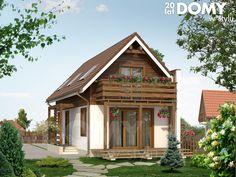 Niewielki dom jednorodzinny z użytkowym poddaszem, przeznaczony dla 3 – 4-osobowej rodziny. Jest to typowy projekt na wąską działkę. Budynek posiada ścianę przeciwpożarową, przez co można go postawić po granicy działki. Na parterze znajduje się salon z aneksem kuchennym, pokój i łazienka, zaś na poddaszu dwie sypialnie i wc. Dom posiada zadaszony taras oraz balkon. Bungalow House Design, Tiny House Design, Little Cottages, Little Houses, Sustainable Architecture, Residential Architecture, Contemporary Architecture, Dome House, Earth Homes