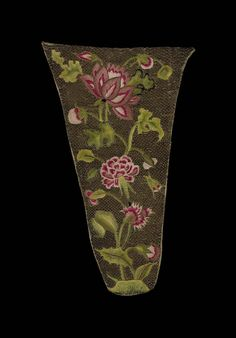 Early 18th century, Europe - Stomacher - Silk and linen embroidered with silk and metallic thread