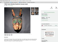 OZZIE MATILPI mask for sale https://www.liveauctioneers.com/item/8550399_ozzie-matilpi-kwakiutl-mouse-mask