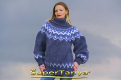 Boutique mohair sweater blue turtleneck hand knitted by supertanya