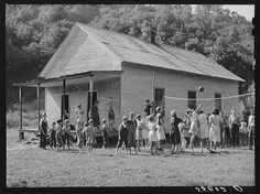 One-room schoolhouse showing overcrowded conditions and need for repairs and equipment. Breathitt County, Kentucky.  Marion Post Wolcott, 1940.