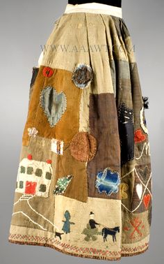 Antique Skirt, Applique Story Skirt, in the manner of Harriet Powers, right side view