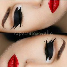 When in doubt Rock It Out! ❤Love this creation by the very talented @permiasorella  Pairing bold Liner and red lips us such a classic look recreated thousands of times, but it never gets old, love love love ❤  #zukreat #aomcosmetics #artistofmakeup #motd