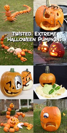 These twisted Halloween pumpkins will inspire your next carving session. Holidays Halloween, Spooky Halloween, Halloween Crafts, Halloween Labels, Halloween Pumkin Ideas, Halloween Costumes, Halloween Stuff, Vintage Halloween, Halloween Makeup