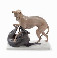 Meissen, Otto Pilz, Porcelain Italian Greyhounds, Germany, 1910