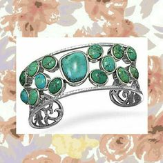 ***Sale*** Abstract Oval Turquoise Cuff Bracelet