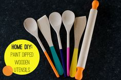 Paint Dipped Wooden Spoons Spatulas Rolling Pin Home DIY Colourful Kitchen How To