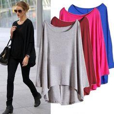Damen Fledermaus Langarm Pulli Shirt Asymmetrisch Hem Batwing Bluse T-shirt Tops