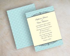Vintage, antique, blue and ivory wedding invitations, wedding invites www.appleberryink.com