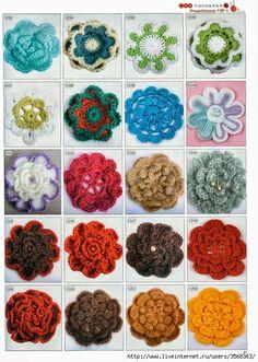 Crochet y dos agujas: 20 Flores tejidas al crochet con sus respectivos diagramas