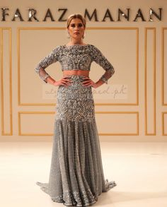 Grey Heavy Embroidered Pakistani Lehenga Choli at Zikimo Pakistani Lehenga, Pakistani Couture, Pakistani Bridal Dresses, Indian Couture, Pakistani Outfits, Indian Outfits, Lehenga Choli, Anarkali, Sarees