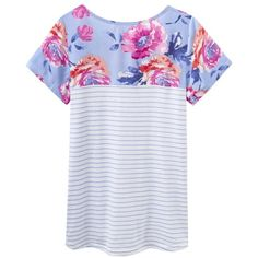 Women's Joules Suzy Jersey Woven Mix T-Shirt ($35) ❤ liked on Polyvore featuring tops, t-shirts, summer tees, flower print top, floral tee, jersey top and jersey tee