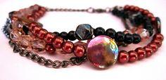 Multi-strand beaded bracelet with gunmetal chain handmade jewelry| Flickr - Photo Sharing!