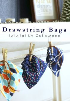 Mini Drawstring Bags for Christmas by CailaMade