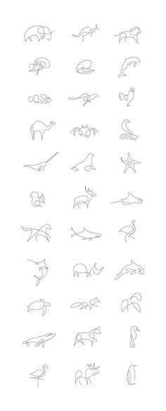 Tiny Tattoo Idea - Minimalist One Line Animals By A French Artist Duo - Art - Tattoo Designs For Women One Line Animals, Petit Tattoo, Beste Tattoo, Animal Logo, Tattoo Animal, Small Animal Tattoos, Cheetah Tattoo, Small Fish Tattoos, Small Hand Tattoos
