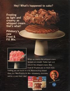 """1966 PILLSBURY FROST & FILL MIX vintage magazine advertisement """"What's happened"""" ~ Hey! What's happened to cake? - Frosting as light and creamy as whipped cream ... that's what! - Pillsbury's new Frost & Fill Mix. - Whips up creamy like whipped ... The Pancake House, Pancake Day, Retro Recipes, Vintage Recipes, Odense, Vintage Ads, Vintage Food, Poster Vintage, Ice Cream Candy"""