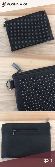 BRAND NEW! Black studded clutch w/wristlet BRAND NEW! Has 3 pockets (1 outside for phone, 2 inside - see photos) Great for a night out dancing! Bags Clutches & Wristlets