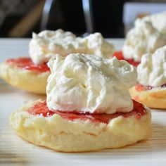 "Scones  - Only three ingredients and no eggs!  ""I swear to you, in my humongous family these are ALWAYS the first to go and that's saying something because every dish holds a delight!""  