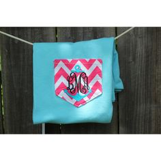 Sky Blue With Hot Pink Chevron Monogrammed Anchor Pocket T-Shirt... ($25) ❤ liked on Polyvore featuring tops, t-shirts, grey, women's clothing, bridal party shirts, preppy t shirts, bride t shirt, hot pink t shirt and t shirts