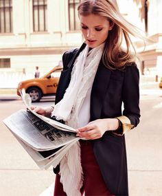 mix of soft scarf and structured blazer..LOVE! also love the makeup and hair..
