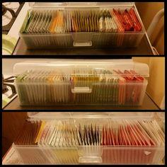 Tea organizer:  $1.50 box at Daiso