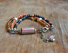 Écrous & baies charme Jade Bracelet laiton par HeartofOneCreations