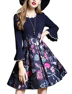 8c8b17e37d DanMunier Womens Trumpet Sleeve Print Floral ALine Dress 8024 8024 XL      AMAZON  BEST