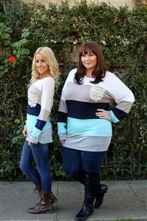 Color blocked top with lace detailing in small to plus size