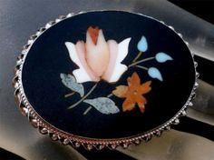 Antique Pietra Dura Floral Brooch Mosaic Inlay Silver Art Nouveau Italian Pin | eBay