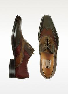 Moreschi Destra - Three-tone Brown Calfskin Wingtip Oxford Shoes
