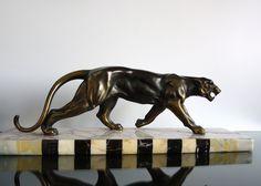 Fantastic & Huge Art Deco Panther Sculpture Statue Marble Base France 1930s