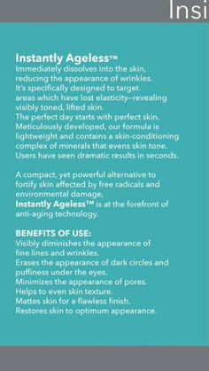 Instantly Ageless Instructions