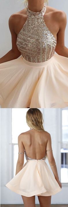 champagne homecoming dress, halter prom dress,backless prom dress, a line…