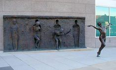 "Cool statue called ""Freedom"" by Zenus Frudakis. It looks like she breaks away from the granite. I think you can find the statue in Philadelphia. Photo uploaded from one of my friends at Facebook."