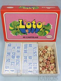 Brinquedo antigo Jogo Loto Bingo Tombola com 60 Cartelas Pedras de Madeira Década de 1970