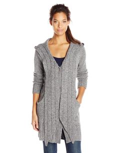 ExOfficio Women's Floriana Convertible Cardigan, Cement, Large. 2 front hand pockets.