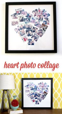 20 DIY Photo Gift Ideas & TutorialsDo you have many wonderful photos in your computer where no one can enjoy them? If the answer is yes, why not give some photo gifts to your loved ones. Craft Gifts, Diy Gifts, Cheap Gifts, Collage Foto, Collage Collage, Diy Foto, Valentine's Day Greeting Cards, Gift Cards, Photo Heart