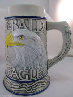 2000 Tom O'Brien Bald Eagle Stein by Ceramarte Made in Brazil #Stein