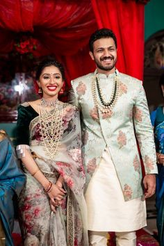 A Graceful DIY Engagement With The Bride In Two Gorgeous Outfits And Antique Jewellery! A Graceful DIY Engagement With The Bride In Two Gorgeous Outfits And Antique Jewellery! Engagement Dress For Bride, Engagement Saree, Groom Wedding Dress, Indian Engagement Outfit, Bride Groom, Indian Groom Dress, Wedding Dresses Men Indian, Indian Weddings, Mens Wedding Wear Indian