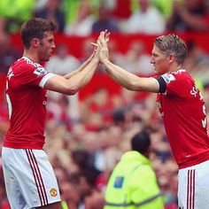 Schweinsteiger comes on for Carrick to make his Old Trafford debut.