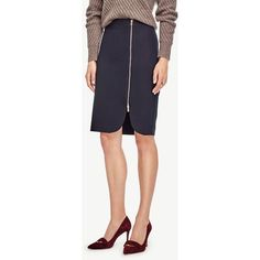 Ann Taylor Petite Side Zip Pencil Skirt ($80) ❤ liked on Polyvore featuring skirts, navy blue, ann taylor, ann taylor skirts, blue skirt, zipper pencil skirt and zipper skirt