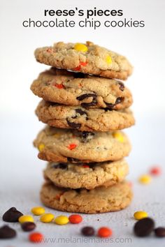 Fill your cookie jar with these rich, soft baked Reese's Pieces Chocolate Chip Cookies.  With each bite you're rewarded with melty chocolate, decadent peanut butter, or if you're lucky, both!