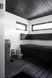 Black and white sauna