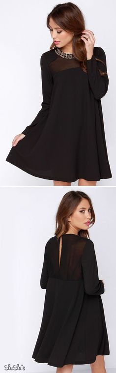 City to City Black Long Sleeve Shift Dress