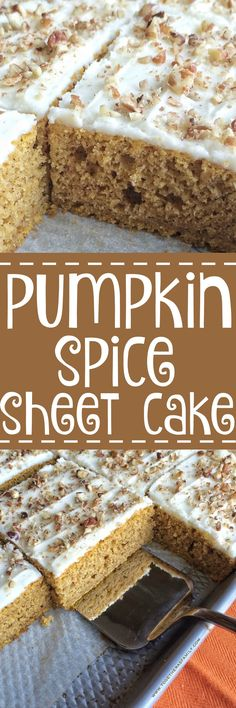 Pumpkin Spice Sheet Cake is full of pumpkin and warm fall spices. Soft, moist, and topped with the best cream cheese frosting and sprinkled with chopped pecans. Perfect dessert for Thanksgiving or anytime in the Fall. (frosting for cookies sprinkles) Thanksgiving Desserts, Fall Desserts, Just Desserts, Delicious Desserts, Dessert Recipes, Cupcake Recipes, Dessert Parfait, Oreo Dessert, Pumpkin Dessert