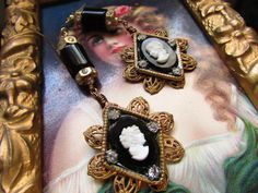 Madonna Enchanted chandelier earrings antique glass cameo portrait statement one of a kind jewelry assemblage by madonnaenchanted on Etsy